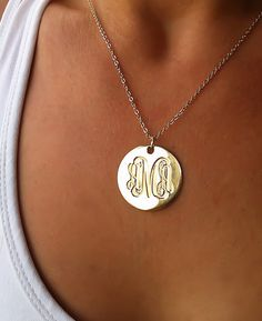 """Engraved Gold Monogram Necklace 1"""", 18K Gold Plated Disc - Personalized Jewelry on Etsy, $39.99"""