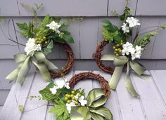 Small Spring/Summer White & Green Floral Wreaths. Hydrangea, berries and grapevine with ombre green bow. Gift for Mom, Hostess, Housewarming by VintageStableDesigns on Etsy