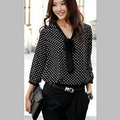 De las mujeres con cuello en V linda de los lunares de la gasa camisa de manga larga – USD $ 11.99