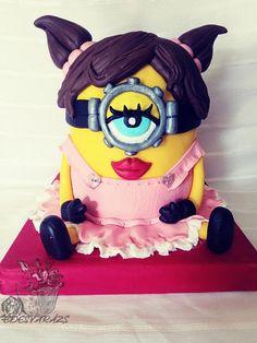 Minion girl by Édesvarázs Girl Minion, Horse Cake, Minions, Minion Cakes, Birthday Cake Girls, Cake Decorating, Daily Inspiration, Eyes, Food