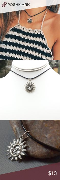 Sun and Moon Leather Choker Necklace This nice leather choker can be paired with everything. The item is handmade by me. Jewelry Necklaces