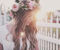 Flower crown and dreamy waves