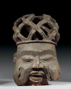 Bamun HELMET MASK Cameroon. H 58 cm. Provenance: Old German private collection.