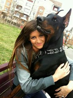#Doberman with girl , reminds me of me and my heart buddie Thor