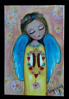 Mi niña angelical  Pintura acrílico  Formato 12x18
