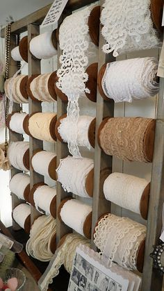 "prettie-sweet:""(via Romantiska Hem: Nu är det helga! Shabby Vintage, Vintage Lace, Vintage Sewing, Shabby Chic, Lace Ribbon, Lace Fabric, Sewing Crafts, Diy Crafts, Sewing Room Organization"