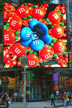 M & M's Video Advertisement Playing Over Sidewalk On Broadway ~ NYC.  Cool pic!