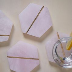 Decked Out Pink Stone Coasters - Set of 4