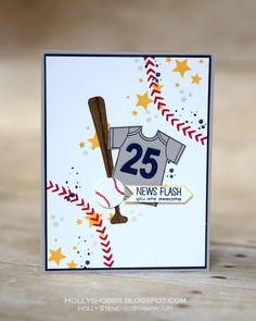 Holly's Hobbies: create a baseball jersey with the Made with Love bundle from Stampin' Up! Also featured from Stampin' Up! - Bohemian Borders, Hardwood, Perpetual Birthday, Timeless Textures and the new hostess set Pun Intended @stampinup #stampinup #TGIFC56