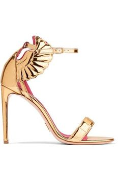 Oscar Tiye's sandals have been made in Riviera del Brenta, an area in Italy known for its expert craftsmanship. These gold mirrored-leather 'Malikah' sandals are adorned with angel wings and have elegant straps that fasten around your ankle. We love the signature magenta insoles - they're set with a special cushion for added comfort.