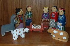 Hand-Carved Wood Navajo Nativity Set by Harry Benally