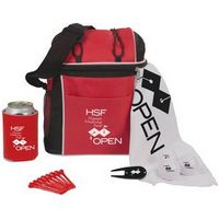 """Voyager Cooler Bag. 15"""" x 18"""" Golf towel with grommet & hook. Eight 2-3/4"""" Tees. Divot Repair Tool. Collapsible can holder. 3 Pinnacle Rush Golf Balls. Other golf ball models available; call for quote."""