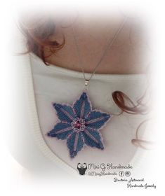 Colgante Flor Clematis / Pendant Flower Clem Miyuki Bead Availble Peyote Stich