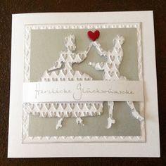 """Wedding card, Sizzix punch """"Dancers"""" Folder Luv"""