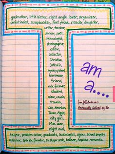 Writers notebook entries - I am a ...