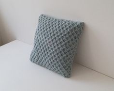 Knitted Cushion Pillow Cover Robins Egg Blue by Lindyknits