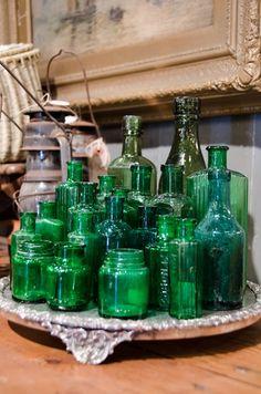 collection of antique bottles @ Leftovers Antiques Brenham, Texas Old Glass Bottles, Antique Bottles, Vintage Bottles, Bottles And Jars, Vintage Glassware, Antique Glass, Perfume Bottles, Vintage Perfume, Medicine Bottles