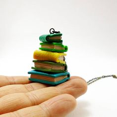 Tiny book necklace Stacked books necklace Colorful tiny