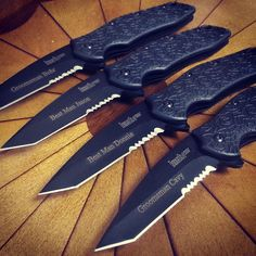 Another groomsmen order! Personalized Kershaw knives are becoming one of the most popular groomsmen gifts this year! #wedding #edc #tanto #tactical #dressknife