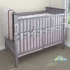 Crib bedding in White and Gray Elephants, Solid Pink, Blush Pink and Silver Gray…