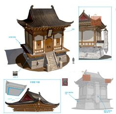 ArtStation - 한옥., sun chan Hwang Japanese Shrine, Japanese House, Asian Architecture, Architecture Design, Architecture Office, Futuristic Architecture, Prop Design, Game Design, Chinese Buildings