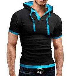 Men'S T Shirt 2016 Summer Fashion Hooded Sling Short-Sleeved Tees Male Camisa Masculina T-Shirt Slim Male Tops 4XL