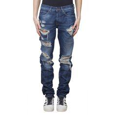Off White Slim fit destroyed cotton jeans (70235 RSD) ❤ liked on Polyvore…