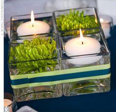 centerpieces - 4 small square vases