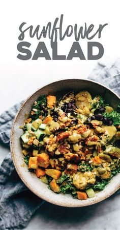 Kitchen Sink Sunflower Salad - featuring a veggie rainbow of brussels sprouts, sweet potato, beans, cucumber, and kale, and then drenched in this creamy, clean-eating sunflower dressing! YUM. #salad #healthyrecipe #sunflowersalad #kitchensinksalad #sweetpotatosalad #kalesalad   pinchofyum.com