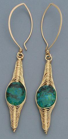 Handmade Chrysocolla & Woven Gold Earrings by ShalenaDesigns, $280.00