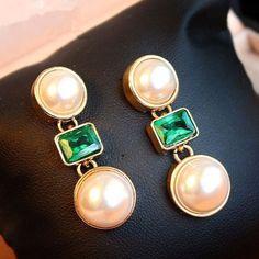 Pearl Green Gemstone Golden Earrings