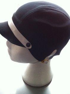 swim/shower cap, black n white