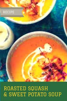 Warm Up with Roasted Squash & Sweet Potato Soup – pleatandpom Fall Recipes, Healthy Dinner Recipes, Great Recipes, Soup Recipes, Vegetarian Recipes, Yummy Recipes, Healthy Soups, Vegetarian Dinners, Popular Recipes