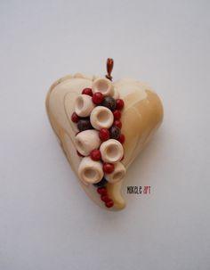 Mokele Art - White Heart - Polymer clay 2014