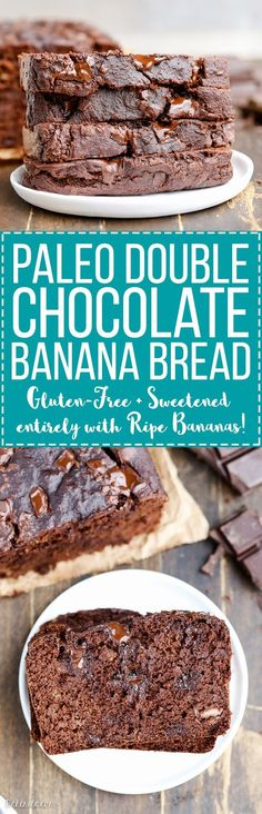 Paleo - Gluten free recipe - Dairy free - Refined sugar free - Double Chocolate Banana Bread is perfectly moist and gooey with an incredibly deep chocolate flavor, and you'd never guess it's sweetened entirely by ripe bananas. Low Carb Dessert, Paleo Dessert, Gluten Free Desserts, Gluten Free Recipes, Dessert Recipes, Weight Watcher Desserts, Chocolate Banana Bread, Chocolate Flavors, Chocolate Granola