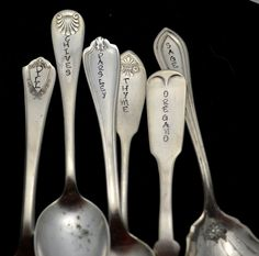 Herb Markers Stamped Garden Markers Hand Stamped Spoon Plant Markers Basil Marker Fork Herb Markers by TheSilverwearShop on Etsy