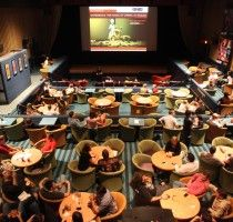 inside the enzian, where you can dine and watch movies