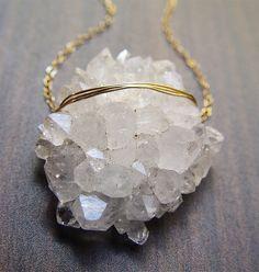 Vanilla Quartz Druzy necklace  14 karat gold by friedasophie, $79.00