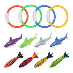 Fajiabao Diving Toys Kit Underwater Swimming Pool Rings Sharks Torpedo Bandit Rockets for Kids Toddlers Children Gliding Chasing Catching Colorful Rubber 12 Pieces Underwater Swimming, Swimming Pools, Mermaid Pool, Rockets For Kids, Pool Toys, Water Toys, New Toys, Sharks, Diving