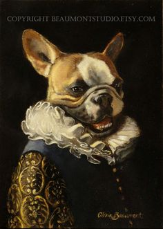 "French Bulldog with Ruff- ""Radar"" 5x7 print. Olivia Beaumont"