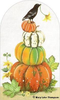 Melissa Shirley Designs   Hand Painted Needlepoint   Pumpkin Stack © Mary Lake-Thompson