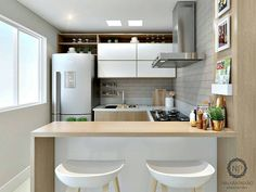 """938 curtidas, 13 comentários - Arquitetura Interiores Decor (@decoratrends) no Instagram: """"Cozinha pequena e funcional. Projeto Najara Paixão Confira também: @imaginevoceaqui ⠀…"""""""