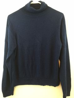 LL Bean #Womens Medium Merino #Wool Turtleneck Pullover Sweater Navy Machine wash #LLBean #Turtleneck