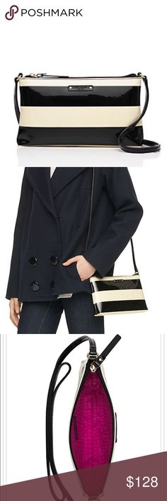 """Penn Valley Amy Black/Cream cross body with zip to closure. Printed Kate spade New York license plate. Drop length: 23.2"""" total strap length: 46.5"""" patent pvc. Capital Kate jacquard lining. 14-karat light gold plated hardware. Style #wkru2882 kate spade Bags Crossbody Bags"""