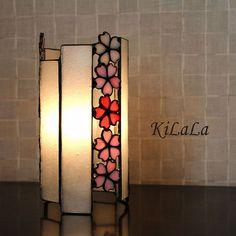 ステンドグラスの筒ランプ(桜)【卓上ランプ】