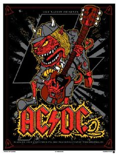 AC/DC screen print of the Wachovia Center show in Philadelphia, PA November Signed and numbered. Rock Posters, Band Posters, Pop Rock, Rock N Roll, Hard Rock, Blues Rock, Angus Young, Bon Scott, Brian Johnson