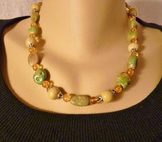 Handcrafted Green Turquoise and Citrine Sterling Necklace