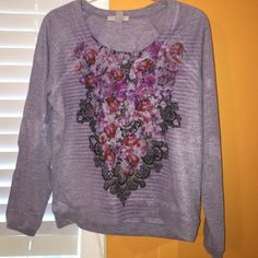 Purple floral long sleeve shirt Worn a few times, size medium, in good condition. Tops
