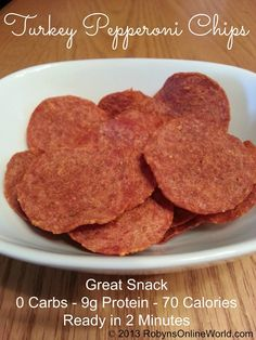 Crispy Turkey Pepperoni Chips Recipe - 0 carbs, 9g protein, 70 calories, ready in 2 minutes. - fabulous snack when you crave crunchy salty and flavor! Eat alone or crumble on salads, eggs, soups, etc