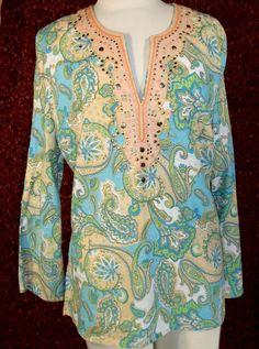 CYNTHIA ROWLING blue paisley bohemian tunic long sleeve blouse L (T30-03I5F) #CYNTHIAROWLEY #Blouse #Casual